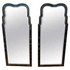 Pair of Elegant Chinoiserie Laquered Hand Painted Mirrors