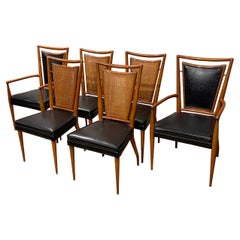 Set of Six Mid-Century Modern Dining Chairs, 4 Side-Chairs  & 2 Arm-Chairs