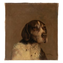 Antique Oil Painting Portrait of a Dog German Pointer by L. van Beers from 1901