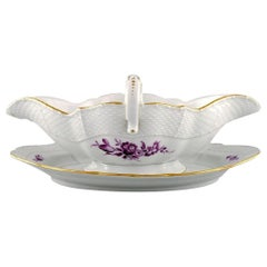 Antique Meissen Sauce Boat in Hand Painted Porcelain with Purple Flowers