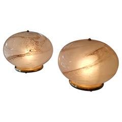 Pair of Murano Glass Round Table Lamp