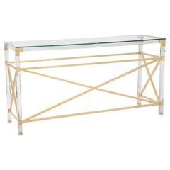 Elegant Timeless Brass and Plexiglass/ Acrylic Console with Glass Top