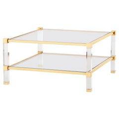 Timeless Brass & Plexiglass/ Acrylic Side Table with Glass Top & Shelf