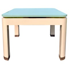 1980's Post Modern Memphis Style Pink and Green Parsons Side End Table