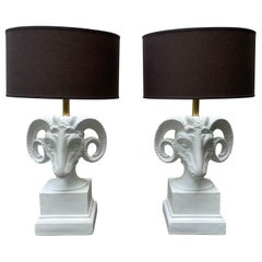 Pair of Hollywood Regency White Rams Head Table Lamps, Mid 20th Century