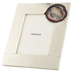 MISIONES Large Alpaca Silver & Agate Stone Photoframe