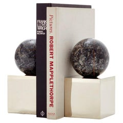 Salta Round Black Onyx Stone Pair of Bookends