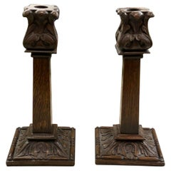 Pair Antique English Candlesticks Candle Holders Carved Oak Acanthus