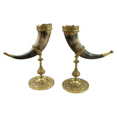 Antique French Pair Trophy Drinking Horns Hunt Epergne Renaissance Brass Statue