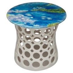 Pierced Ceramic Side Table with Lily Pad Motif- Blue Lavender