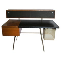 George Nelson for Herman Miller Walnut and Leather Office Desk Model 4658