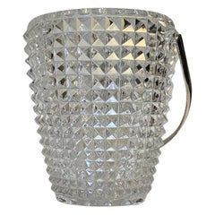 Bohemian Diamond Pattern Crystal Ice Bucket, 1950s