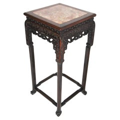 Chinese Qing Dynasty 19th Century Carved Hardwood with Marble Inset Stand