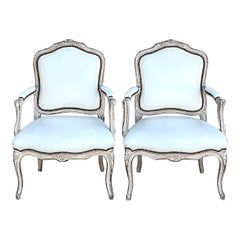 Vintage Regency Seamed Leather Bergere Chairs, a Pair