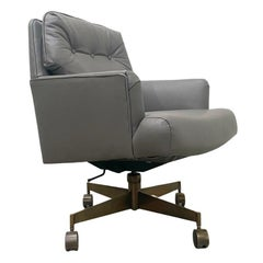Dunbar Executive Desk Chair in Leather and Antique Brass by Edward Wormley