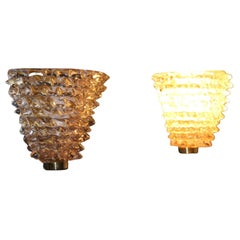 Pair of Pink Sconces in Rostrato Murano Glass in the Style of Barovier e Toso