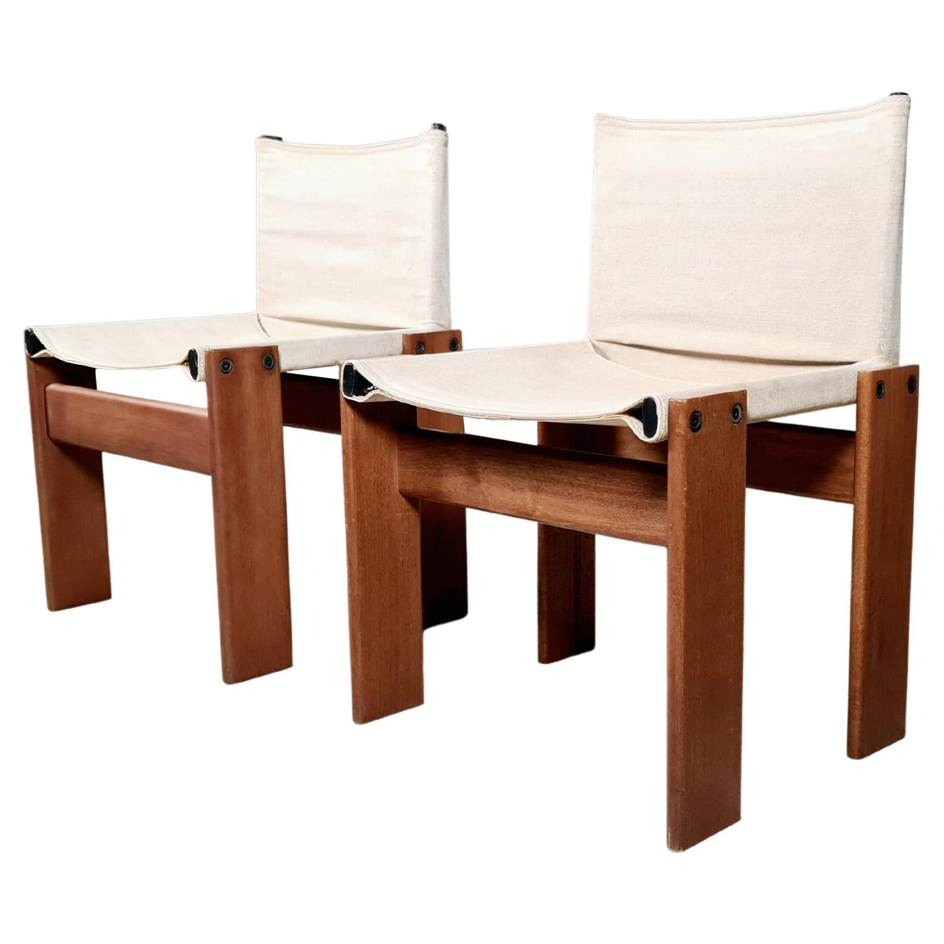 Afra & Tobia Scarpa Set of 2 'Monk' Dining Chairs in Canvas, 1970s