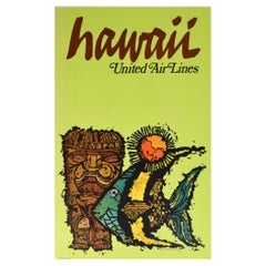 Original Hawaii 1960s United Air Lines Travel Poster, James Jebavy