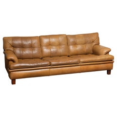 """1960s Quilted Camel Buffalo Leather """"Merkur"""" Sofa by Arne Norell A.B., Sweden"""