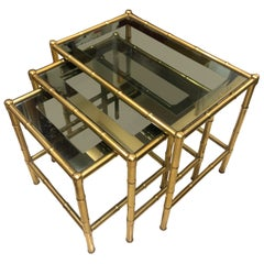 Midcentury French Set of Three Nesting Side Tables in Brass Bamboo Frames
