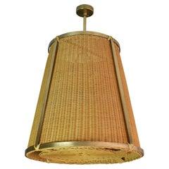 Caeli-I Monumental Brass Rattan Pendant Light, Flow Collection