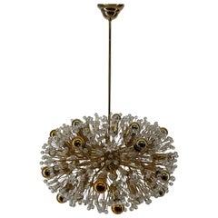 Emil Stejnar Starburst Chandelier Lamp Brass Glass 24K Gold, Austria, 1970