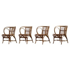 Mid-Century Danish Dining Chairs in Wicker, by Robert Wengler, Set of 4, 1960s