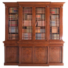 19th Century English Regency Breakfront Bookcase Attributed to Gillows Lancaster