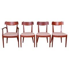 Kipp Stewart Drexel Declaration Sculpted Walnut Dining Chairs, Set of Four