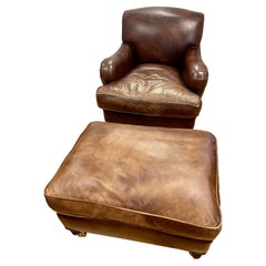 Rare Signed George Smith Leather Cigar Chair Armchair and Ottoman