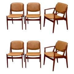 Arne Vodder Set of Six Mid Century Danish Modern Dining Chairs Teak + Leather