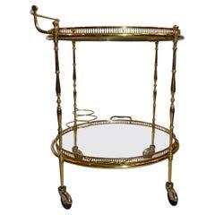 "Estate French Brass and Glass ""Maison Jansen"" Style Bar Cart, Circa 1950s"