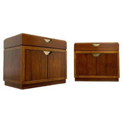 Pair of Baker Furniture Vintage Modern Campaign Nightstands in Walnut and Brass