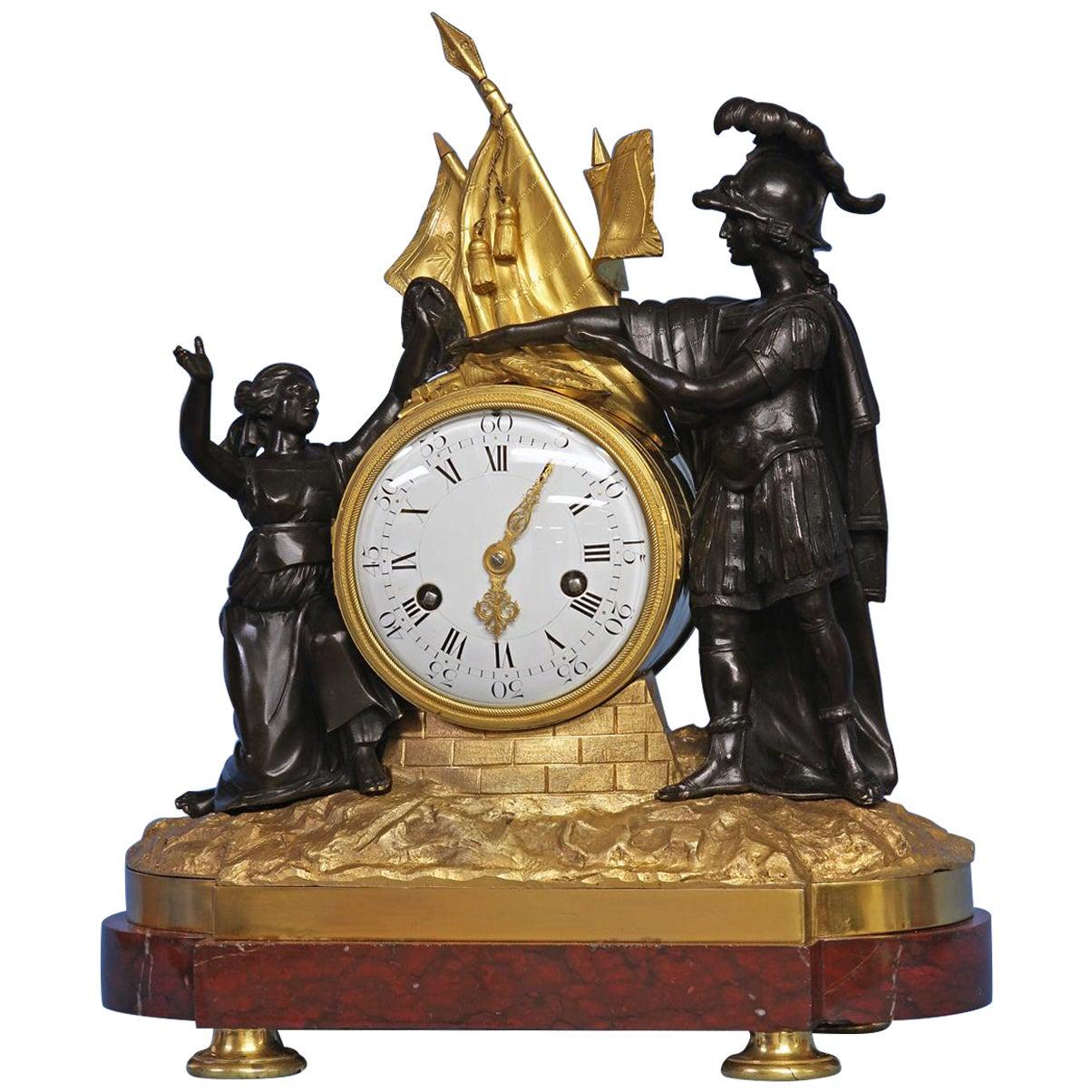 Louis XVI French Figural Mantle Clock