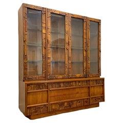 Midcentury Brutalist Credenza + Hutch, Lane Pueblo Walnut Glass Display Cabinet
