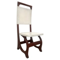 Rosewood and Parchment Accent Chair After Bugatti