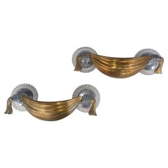 Pair of Mid Century Brass Drape with Hands Hollywood Regency Sconces