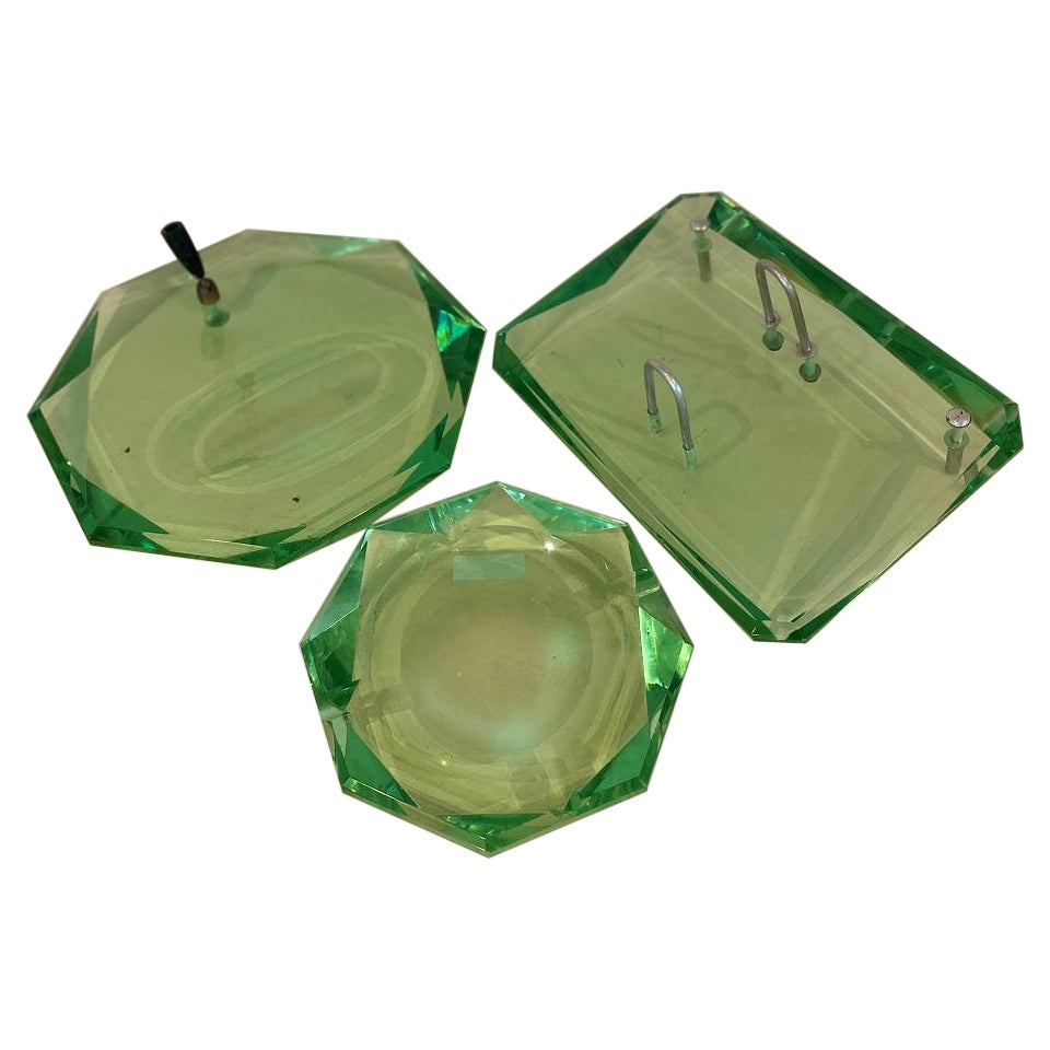 Three-Piece Green Art Glass Desk Set by Fontana Arte, 1950s