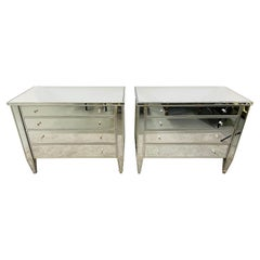 Art Deco Style Nancy Corzine Mirrored Commode, Nightstand or Chest, a Pair