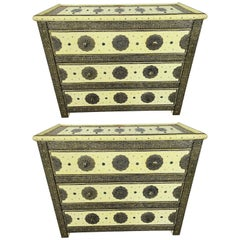 Hollywood Regency Style Off-White Commode, Nightstand or Chest, a Pair