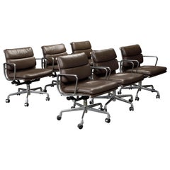 Set of Six 'Soft Pad' Desk Chairs by Charles Eames for Herman Miller, Signed