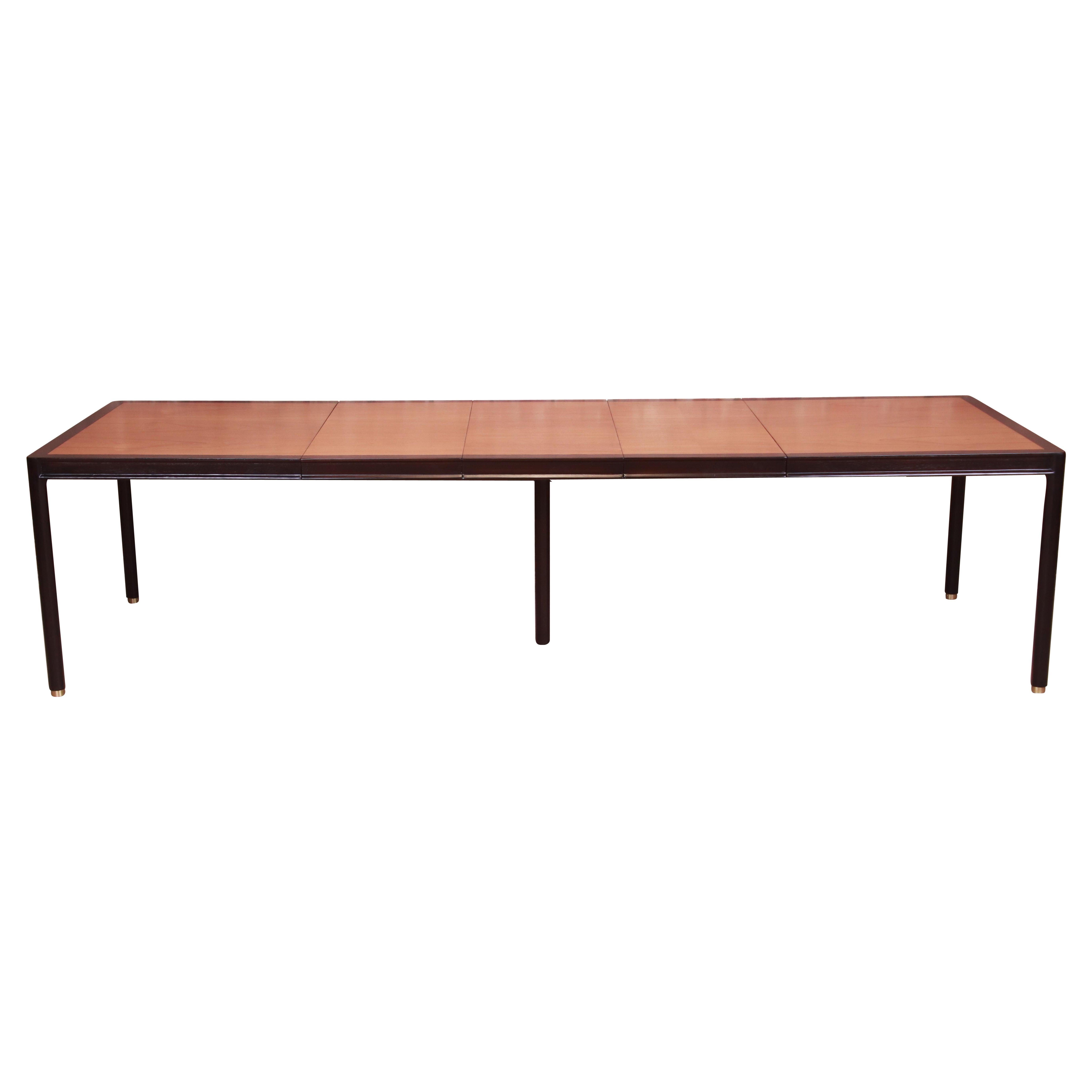 Harvey Probber Teak and Ebonized Mahogany Extension Dining Table, Refinished