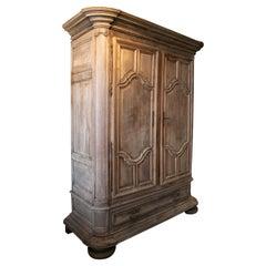 18th Century French 2-Door 1-Drawer Mahogany Wardrobe w/ Original Ironware