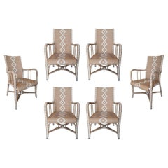 Set of Six 1980s Spanish Hand Woven Synthetic Fibre Garden Armchairs