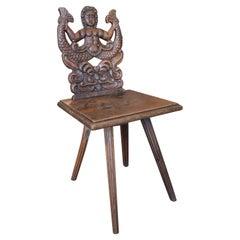 18th Century Austrian Walnut Chair w/ Handcarved Merman Relief Backrest