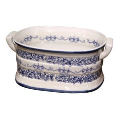 Mid-Century Italian Blue and White Painted Porcelain Foot Bath Bowl