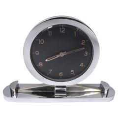 Art Deco Modernist Chrome Desk Clock, c1930