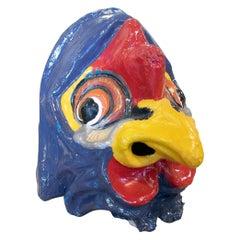 1950s Spanish Hand Painted Cock Head Papier-Mâché Festival Mask