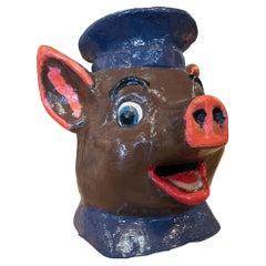 1950s Spanish Pig Head Hand Painted Papier-mâché Festival Mask
