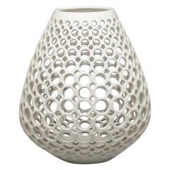 Pierced Ceramic Teardrop Sculpture-White
